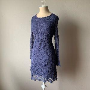Masion Jules Knit Crochet Blue Dress